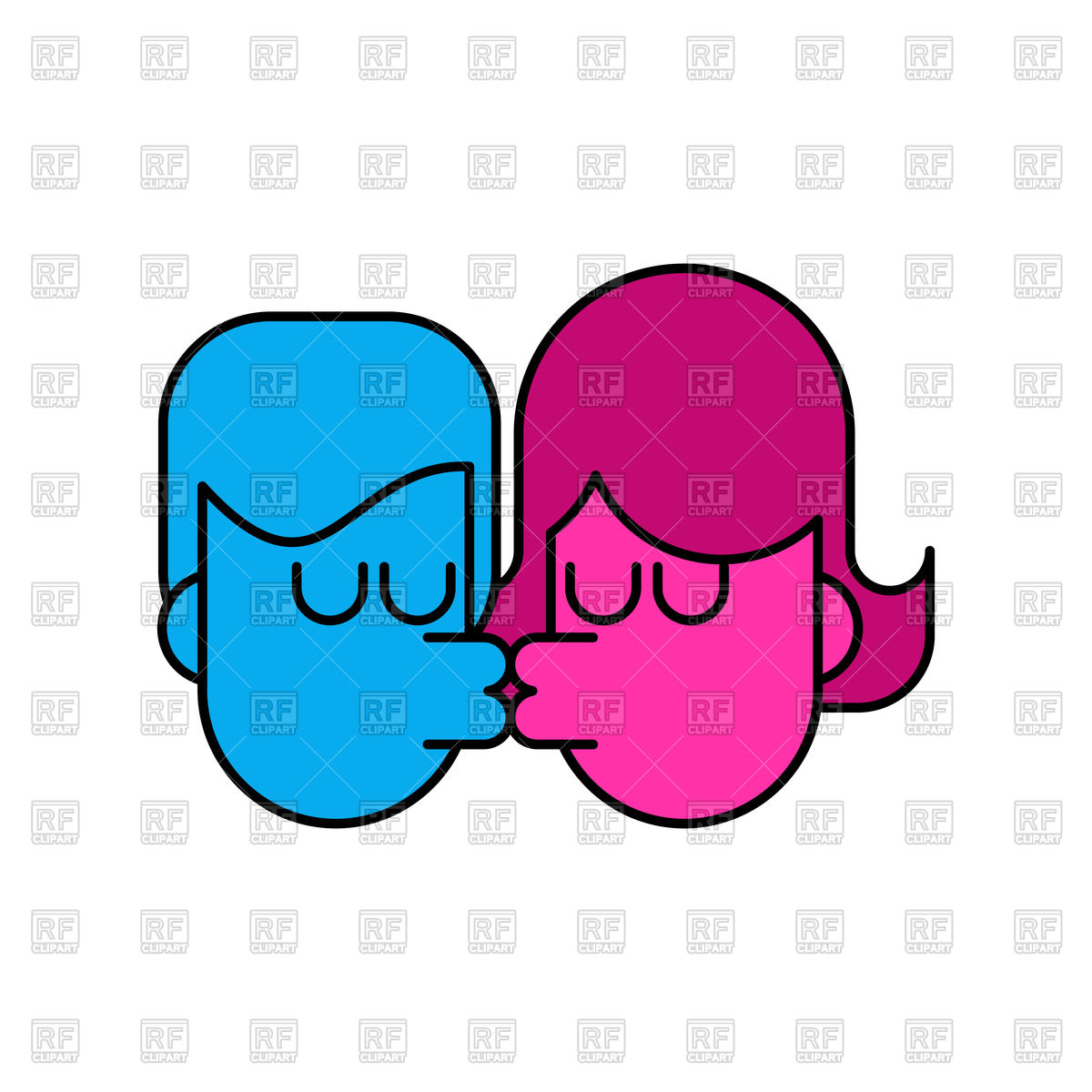 1200x1200 Kiss Icon. Lovers Kissing. Royalty Free Vector Clip Art Image