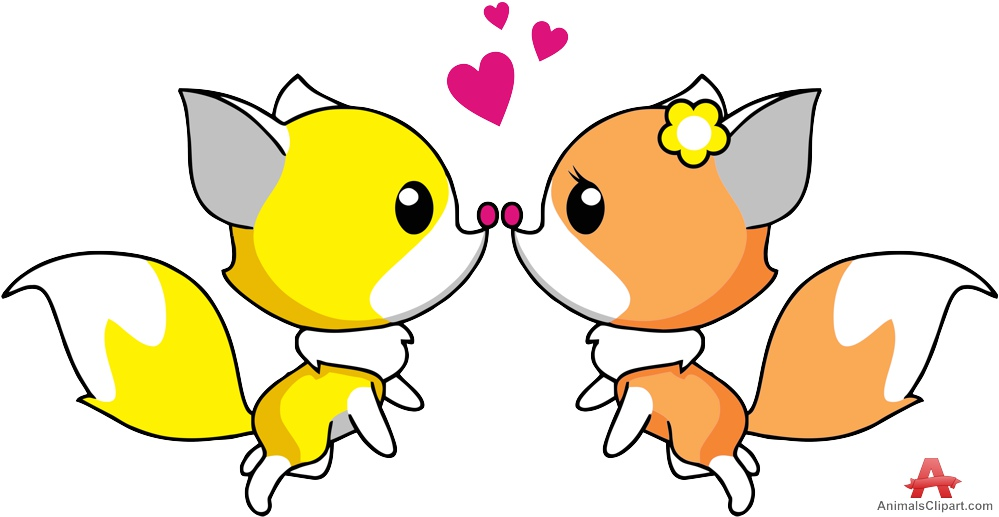 999x517 Two Loving Foxes Kiss Free Clipart Design Download