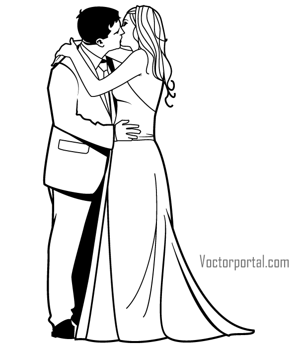 600x700 Romantic Newly Married Couple Kissing Vector Clip Art 123freevectors