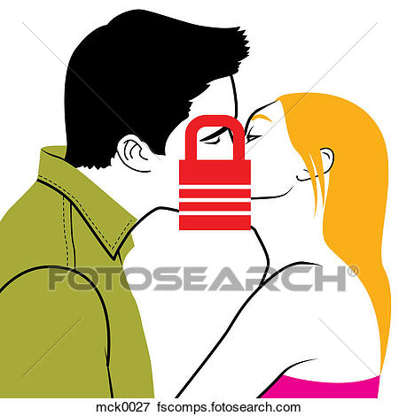 450x470 Stock Illustration Two People Kissing With A Lock Infront