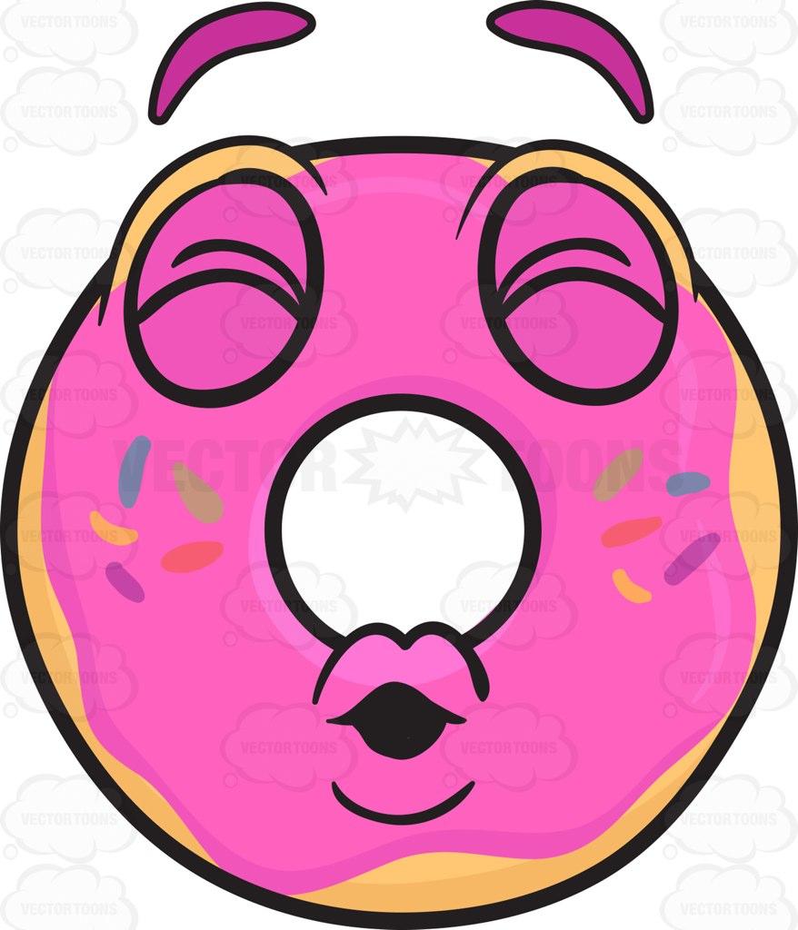 878x1024 Donut Pouting Lips In A Kiss Emoji Cartoon Clipart