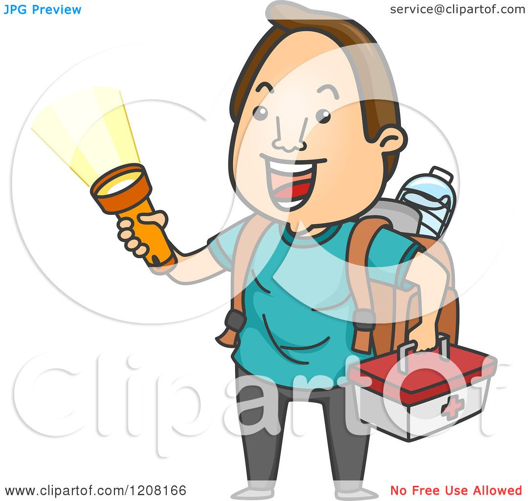 1080x1024 Cartoon Of A Happy Man With An Emergency Kit And Flashlight
