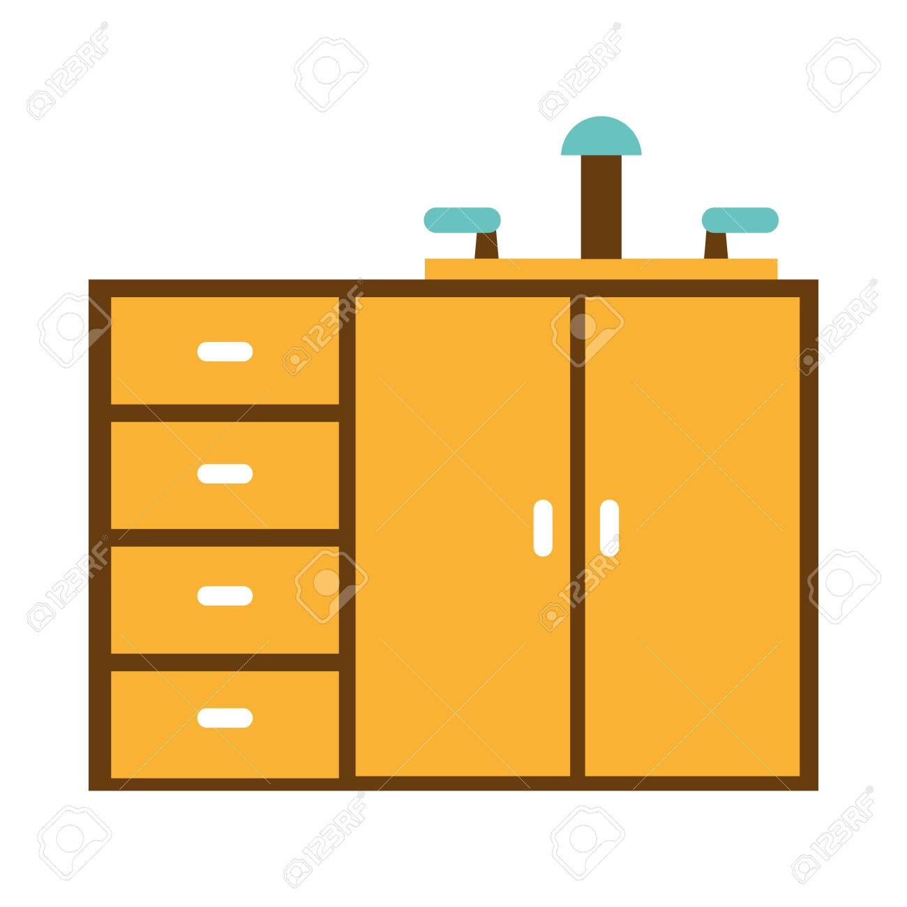 1300x1300 Kitchen Drawers Isolated Icon Vector Illustration Graphic Royalty