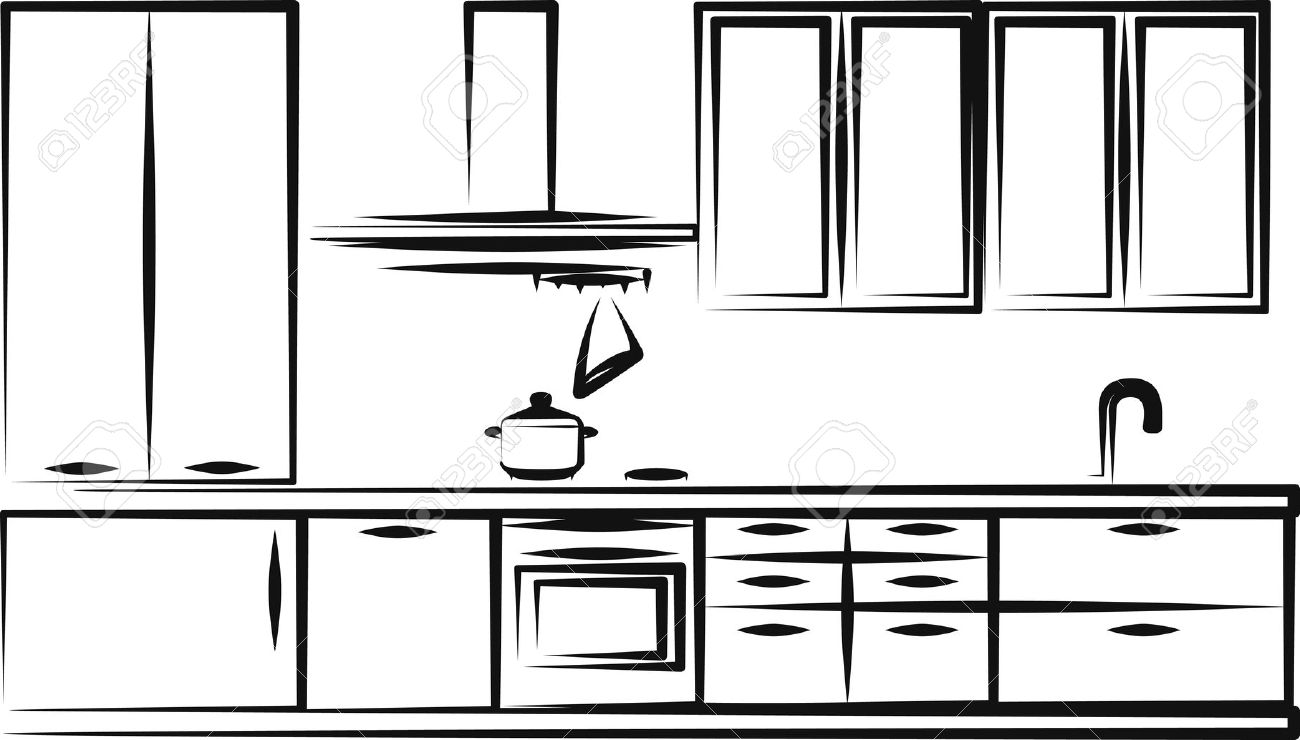 1300x740 Kitchen Cabinets Clipart