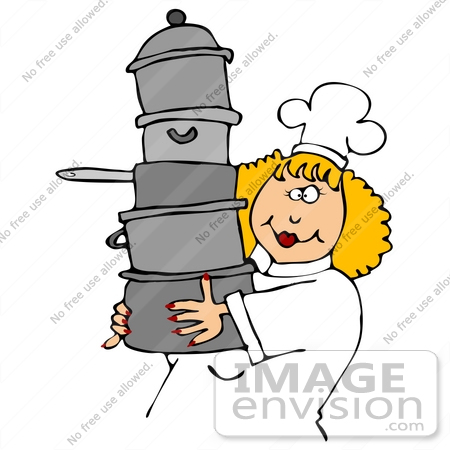 450x450 Clip Art Graphic Of A Friendly Female Caucasian Chef With Blond