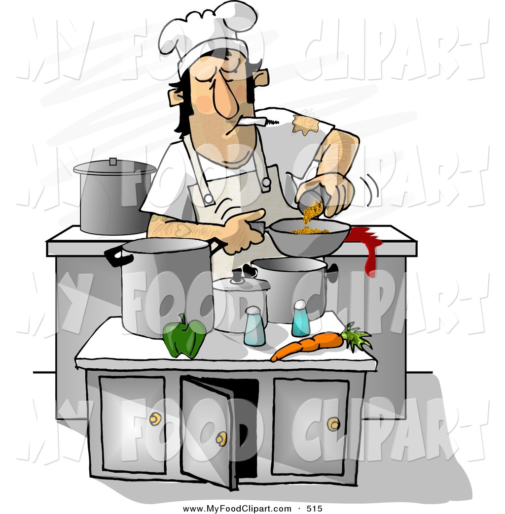 1024x1044 Food Clip Art Of A Filthy Chef Smoking While Cooking In A Kitchen