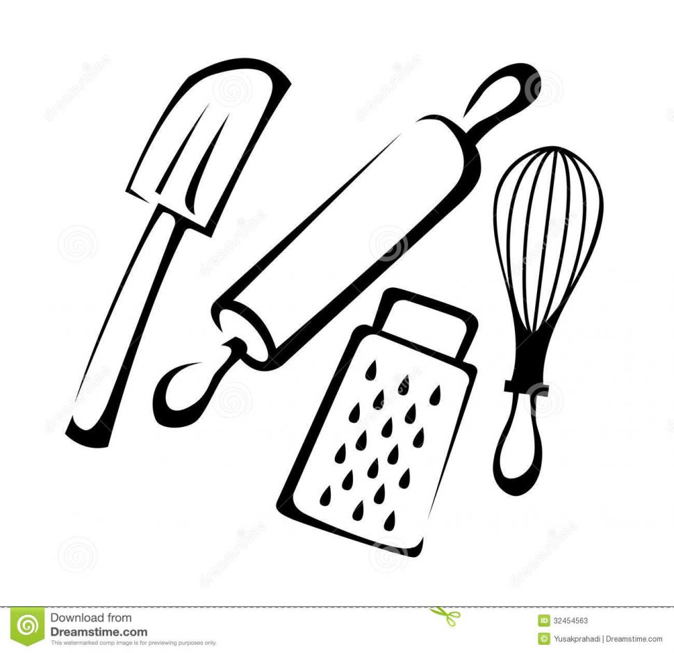 970x939 Kitchen Engaging Kitchen Utensils Clipart Black And White Vector