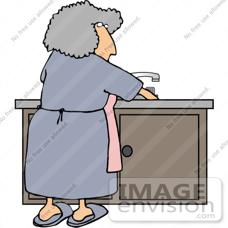 450x450 Senior Woman Washing Dishes