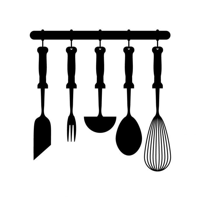 689x689 Kitchen Delightful Kitchen Utensils Clipart Black And White Clip