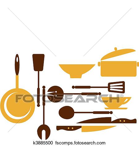 450x470 Clipart Of Kitchen Tools For Cooking And Frying 1 K3885500