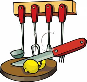 300x280 Colorful Cartoon Of A Rack Of Kitchen Utensils And A Cutting Board