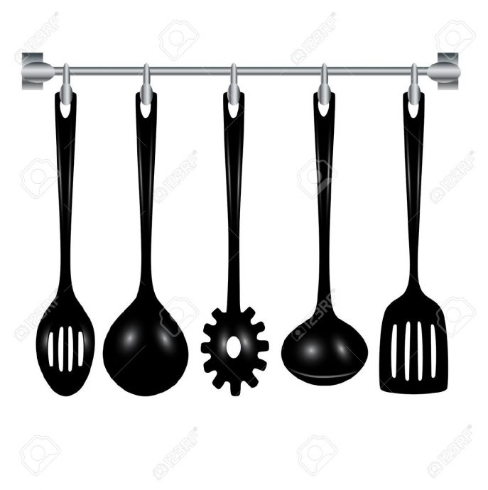 687x690 Kitchen Engaging Kitchen Utensils Clipart Black And White Vector