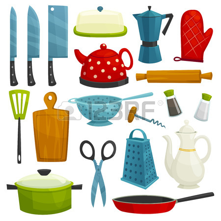 450x450 Vector Kitchen Tools Set. Kitchenware Appliances Vector Isolated