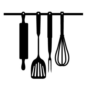353x353 Kitchen Pretty Kitchen Utensils Clipart Black And White Free