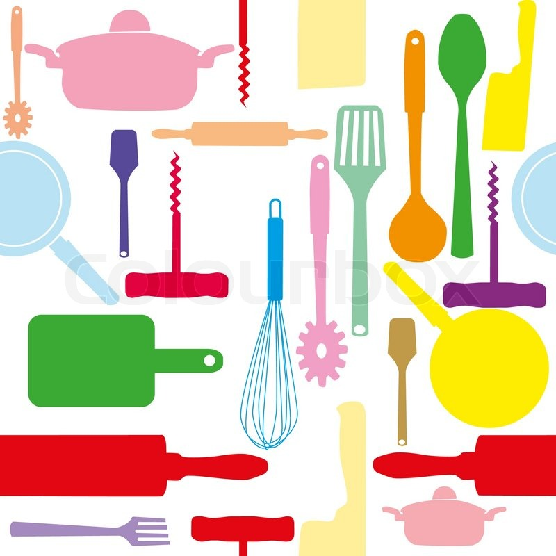 800x800 Vector Seamless Pattern Of Kitchen Tools Stock Vector Colourbox