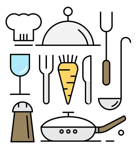 438x490 Vectors Of Cooking Utensils In Minimal Design Style