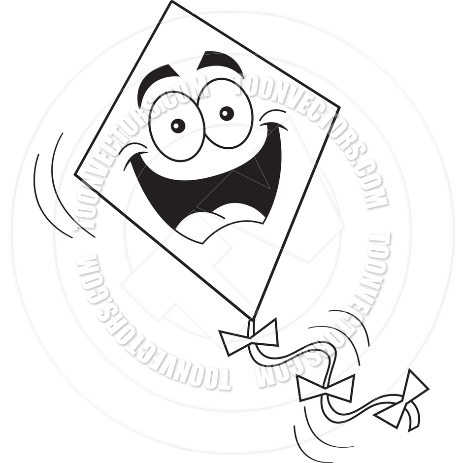 940x940 Cartoon Kite (Black And White Line Art) By Kenbenner Toon