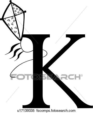386x470 Clipart Of , Alphabet, Capital, Child, K, Kid, Kid'S, Kite, Letter