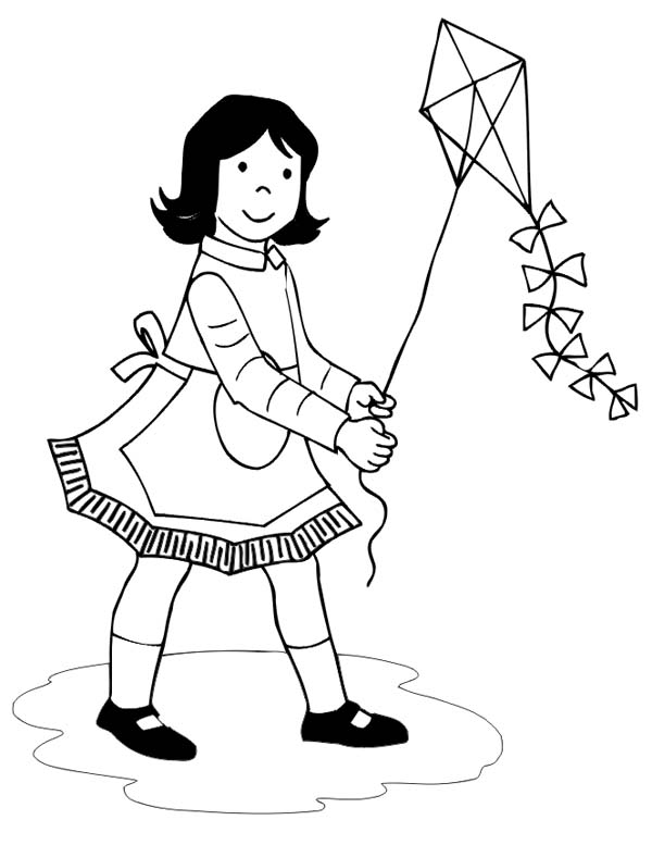 600x777 Game Playing Kite Coloring Pages Kite Coloring Pages Games