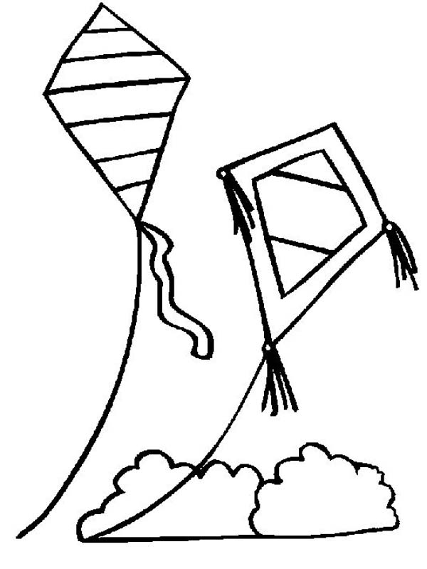 600x799 Two Kites Over The Cloud Colouring Page Pics