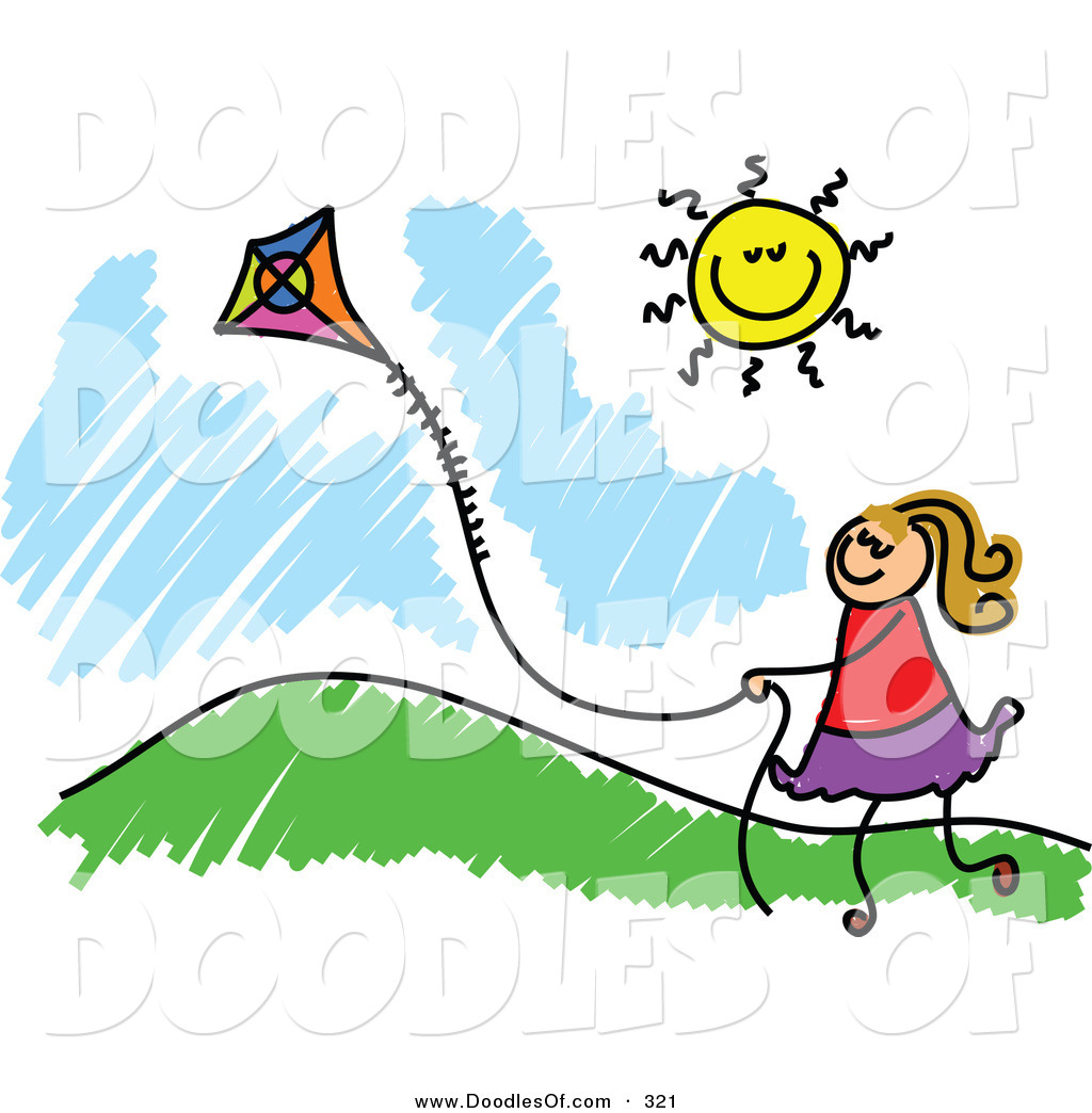 1024x1044 Vector Clipart Of A Childs Sketch Of A Happy Girl Flying A Kite By