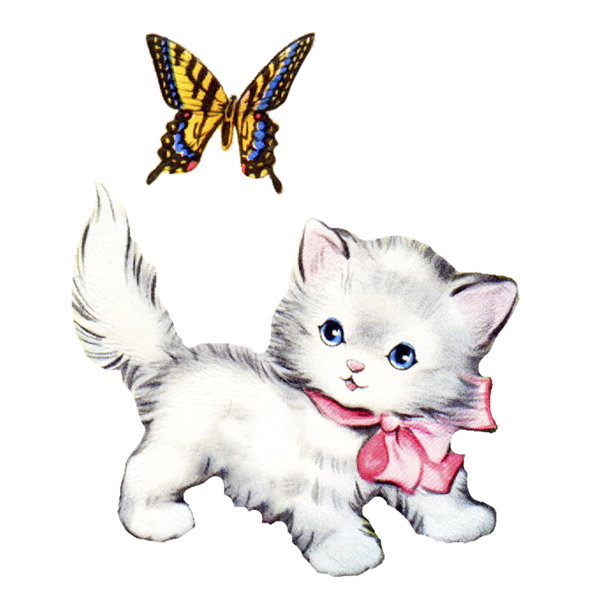 1200x1200 Cute Vintage Kitten Clip Art Cliparts