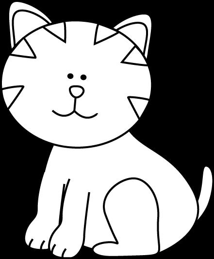 441x535 Black And White Kitten Clip Art