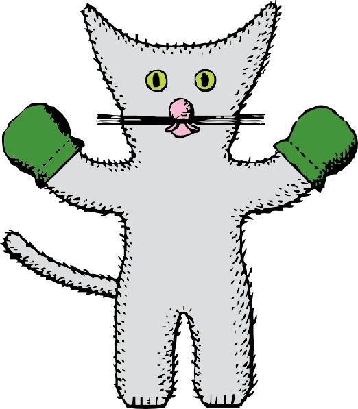 522x597 Kitten With Mittens Clip Art Free Vector In Open Office Drawing