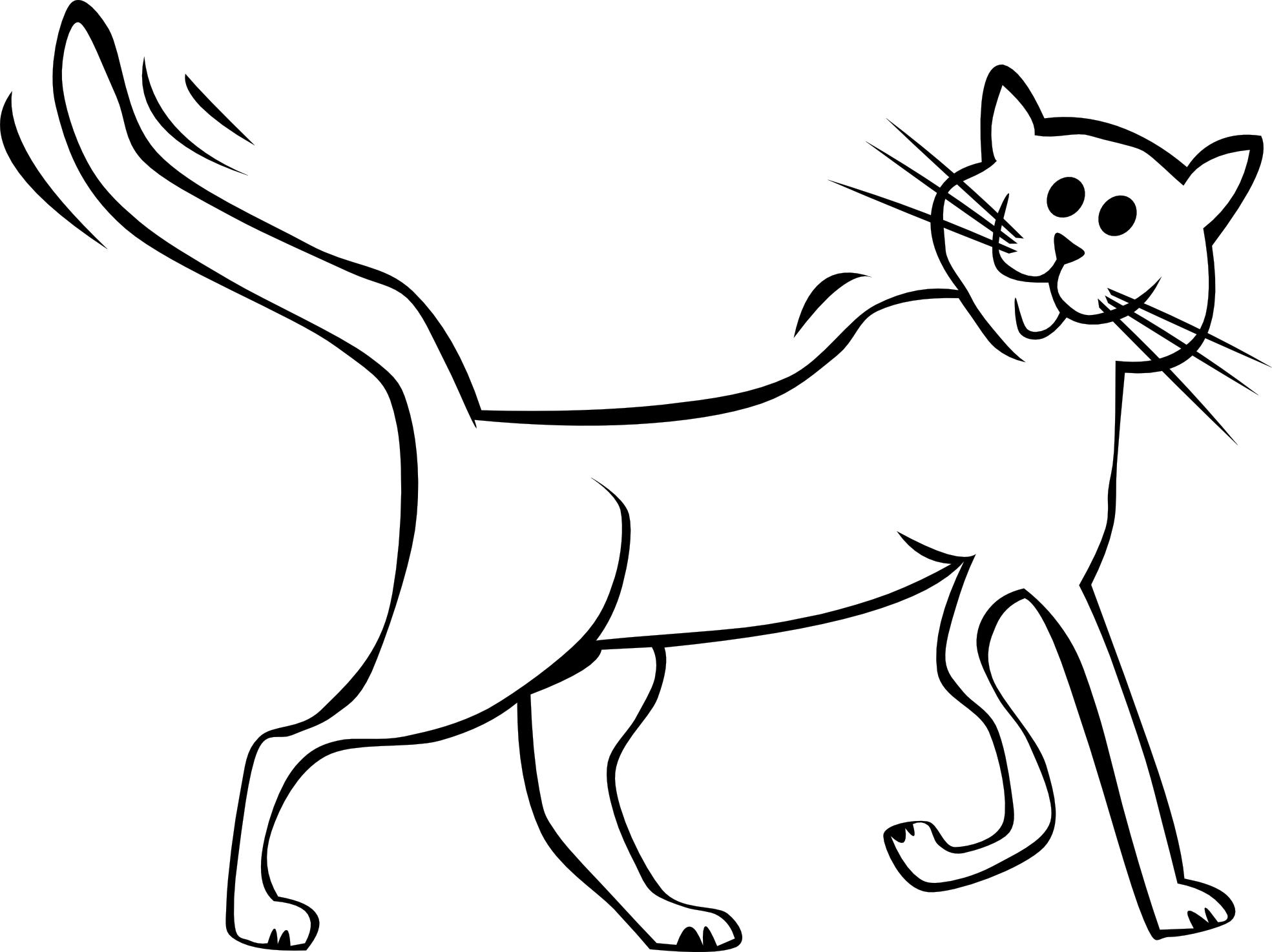 1969x1475 Cat Black And White Cartoon Black And White Cat Free Download Clip