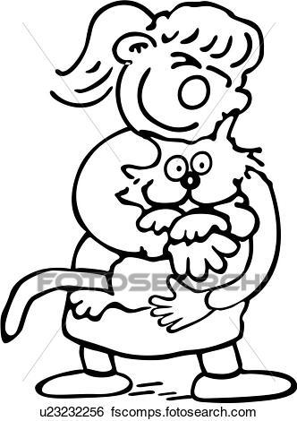 332x470 Clip Art Of , Cartoons, Cat, Child, Feline, Female, Friends, Girl