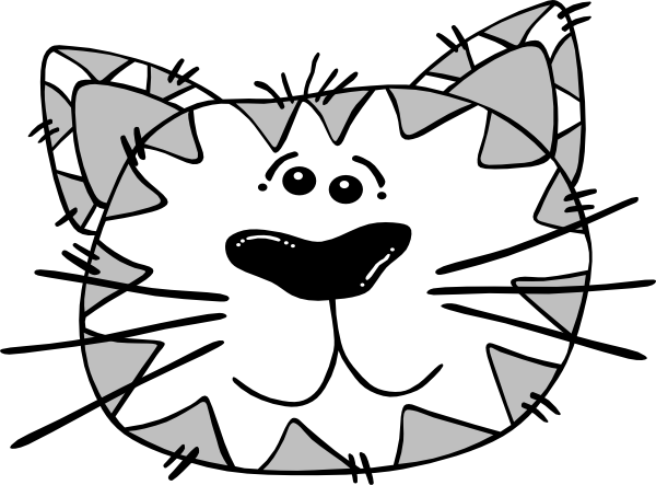 600x443 Grey And White Cat Face Clip Art