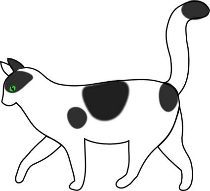 425x386 White Cat Walking Clip Art Vector, Free Vector Graphics