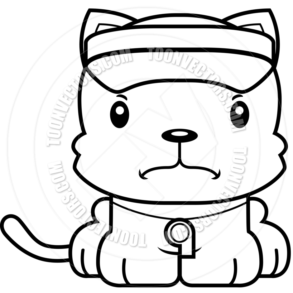 940x940 Cartoon Angry Lifeguard Kitten (Black And White Line Art) By Cory