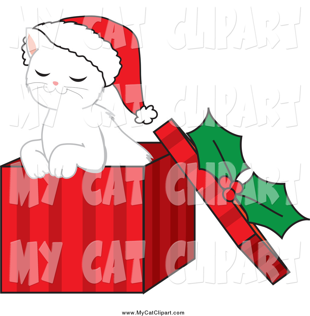 1024x1044 Clip Art Of A Cute White Kitten Wearing A Santa Hat And Sitting