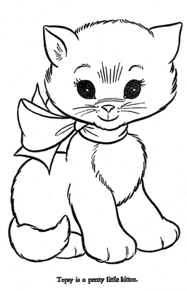 615x954 Animal Cute Kitten Coloring Pages To Print Kitten Coloring Pages
