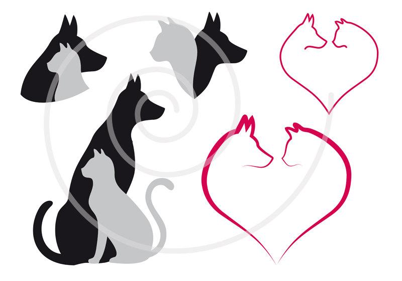 800x560 Cat And Dog Digital Clip Art Set Pet Animal Clipart Heart