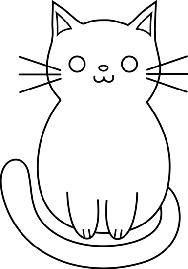 385x550 Cute Cat Line Art
