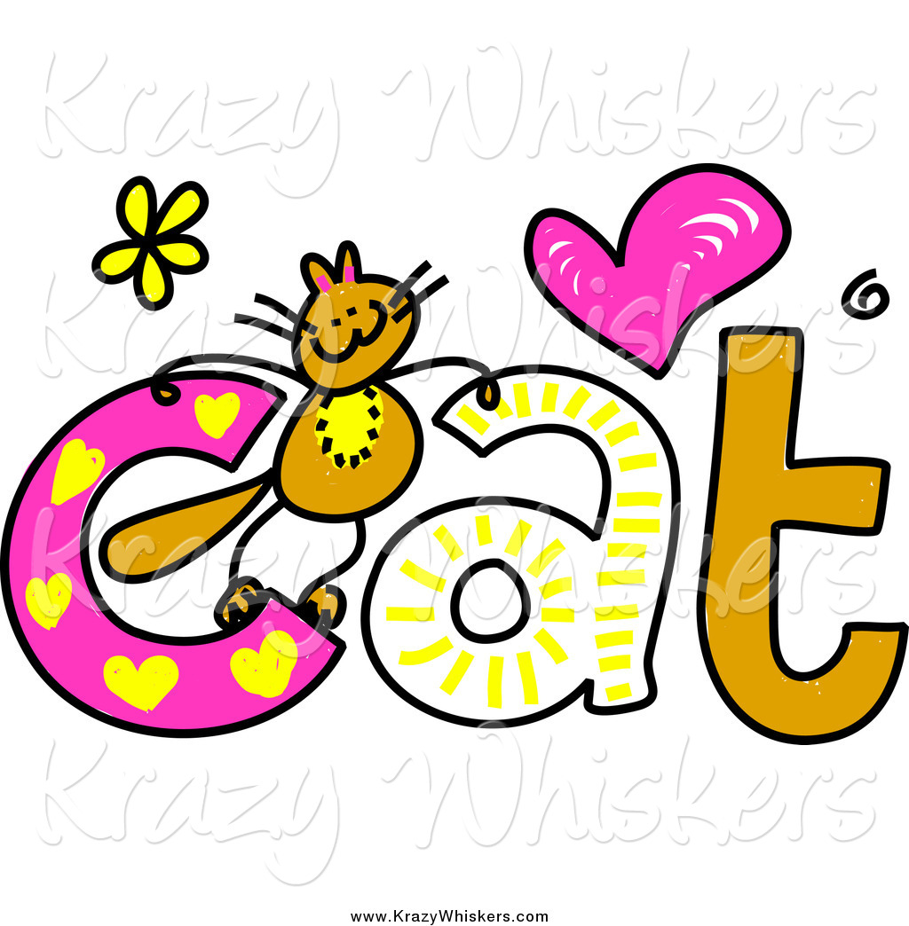 1024x1044 Critter Clipart Of A Doodled Kitty On The Word Cat By Prawny