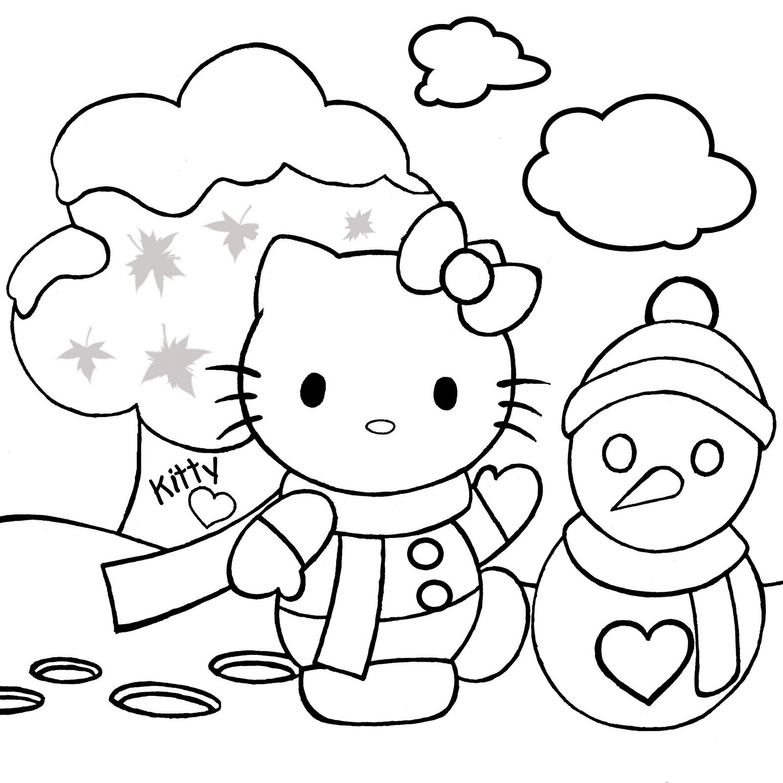 1600x1600 Hello Kitty Coloring Pages For Kids Xmas Christmas