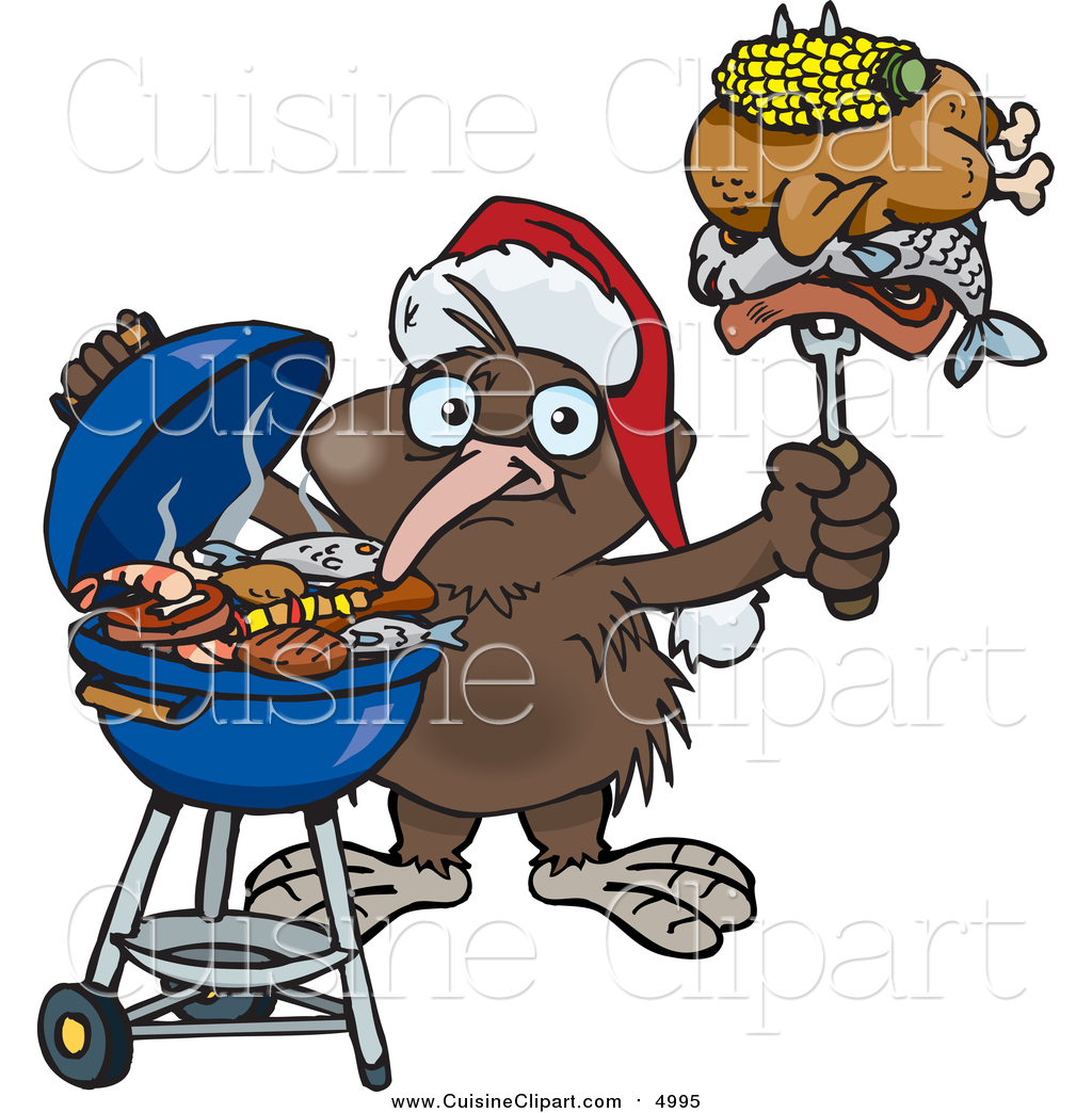 1024x1044 Cuisine Clipart Of A Kiwi Bird Wearing A Santa Hat And Holding