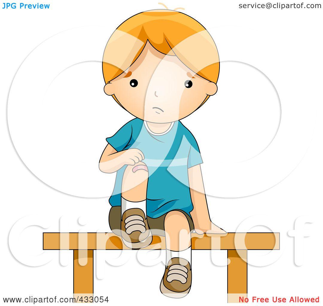 1080x1024 Royalty Free (Rf) Clipart Illustration Of A Boy Bandaging His Hurt