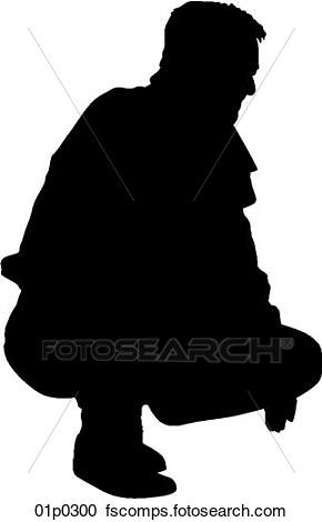 290x470 Clipart Of Man Crouching 01p0300