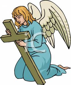 249x300 Image An Angel Kneeling And Holding A Cross