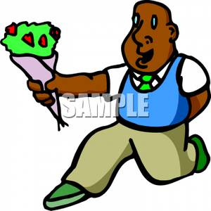 300x300 Art Image A Kneeling Man Holding Out A Bouquet Of Flowers