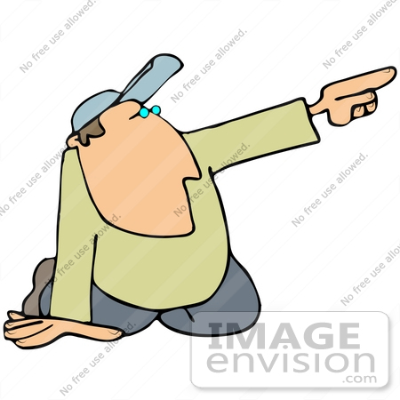 450x450 Clip Art Graphic Of A Kneeling Guy Pointing Off To The Right