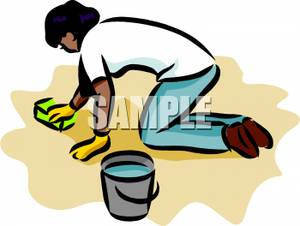 300x226 Free Clipart Image A Woman On Her Hands And Knees Scrubbing The Floor