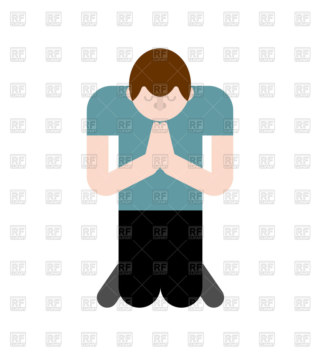 1080x1200 Man Is Praying On His Knees. Prayer To God. Royalty Free Vector