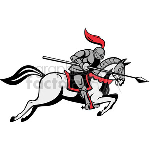 300x300 Royalty Free Knight With Jousting Lance Riding Horse 388378 Vector