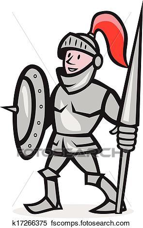 295x470 Clipart Of Knight Shield Holding Lance Cartoon K17266375