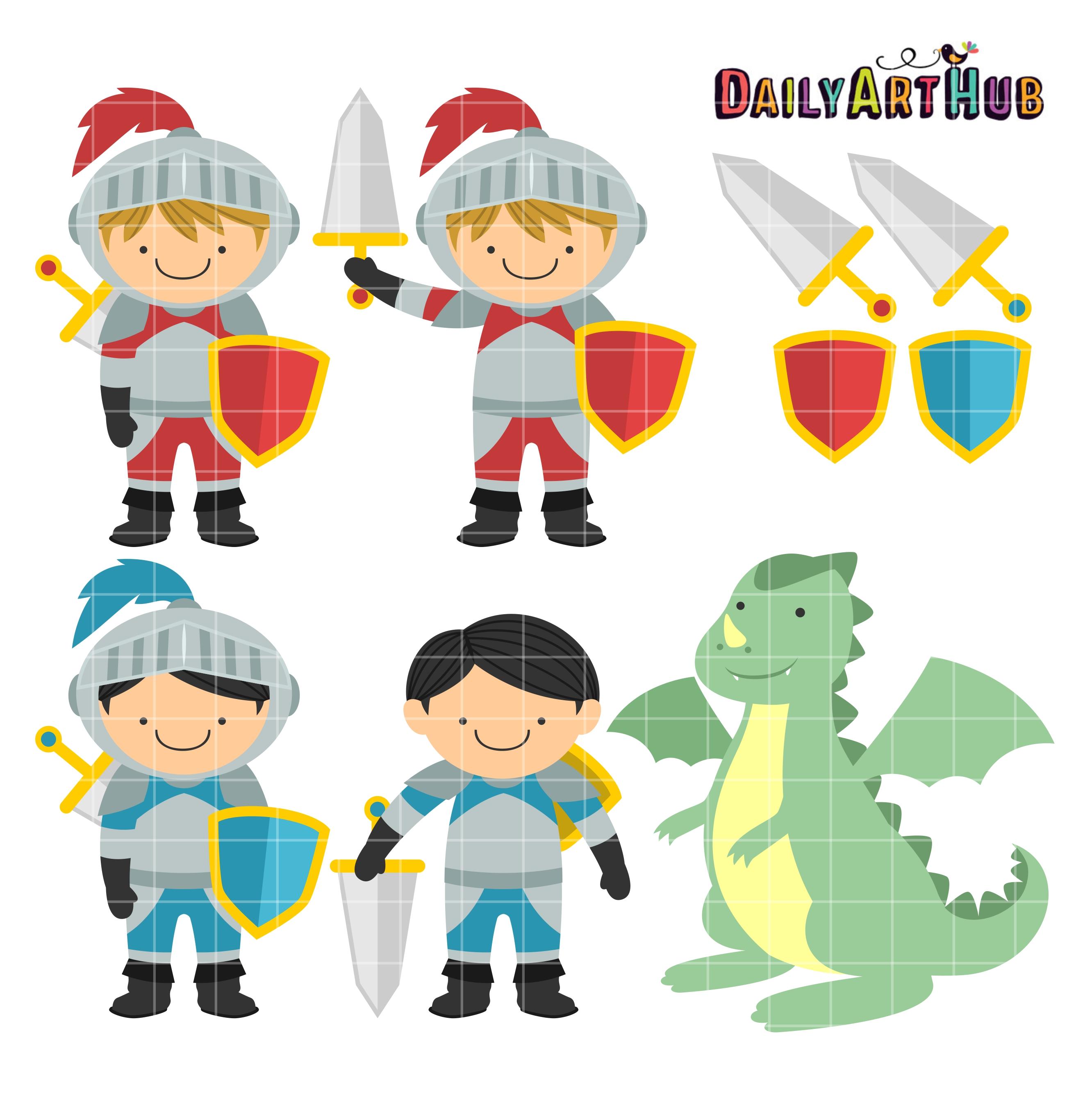 2664x2670 Cute Knights And Dragon Clip Art Set Daily Art Hub